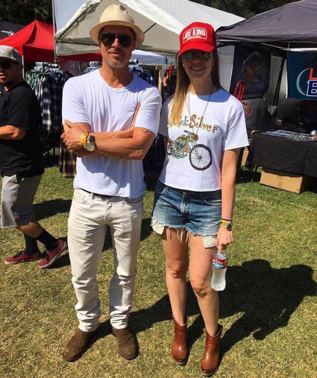 Brad Pitts enjoys some man time, on a sunny Sunday at a motorcycle show in Silverado, CA.  Pictured: Brad Pitt