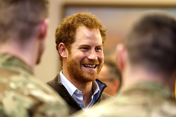 BLACKPOOL, ENGLAND - FEBRUARY 5:  Prince Harry meets meets some of the soldiers from the 2nd Battalion, The Duke of Lancaster's Regiment, who were deployed to Lancashire, Yorkshire and Cumbria to find out how they aided recovery work in the recent floods, during a visit to Weeton Barracks on February 5, 2016 in Blackpool, England. He was visiting the barracks, before heading to St Michael's on Wyre where many people lost their homes. (Photo by Owen Humphreys - WPA Pool/Getty Images)