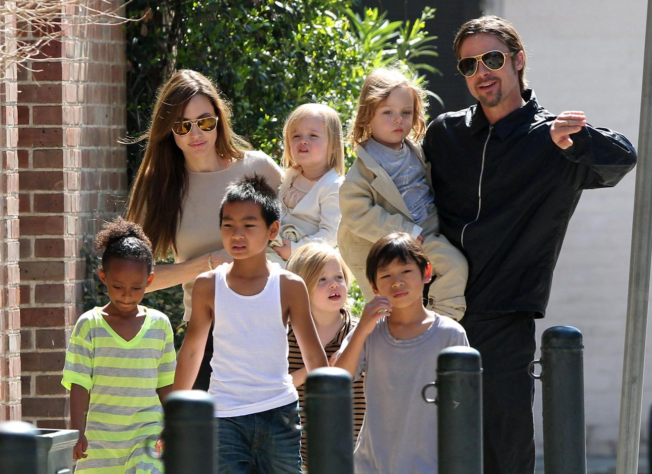 #7006830 The Jolie-Pitt family headed out in New Orleans, Louisiana to do some grocery shopping at a local market on March 20, 2011. Angelina has brought all six children to visit their dad Brad Pitt while he works on his latest project