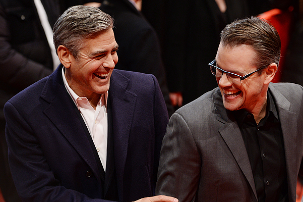 BERLIN, GERMANY - FEBRUARY 08:  George Clooney, Matt Damon and Luciana Barroso attend 'The Monuments Men' premiere during 64th Berlinale International Film Festival at Berlinale Palast on February 8, 2014 in Berlin, Germany.  (Photo by Ian Gavan/Getty Images)