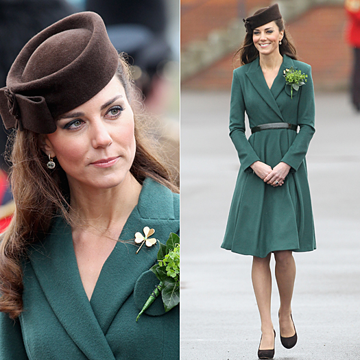 ALDERSHOT, ENGLAND - MARCH 17:  Catherine, Duchess of Cambridge takes part in a St Patrick's Day parade as she visits Aldershot Barracks on St Patrick's Day on March 17, 2012 in Aldershot, England. The Duchess presented shamrocks to the Irish Guards at a St Patrick's Day parade during her visit. (Photo by Chris Jackson-WPA Pool/Getty Images)