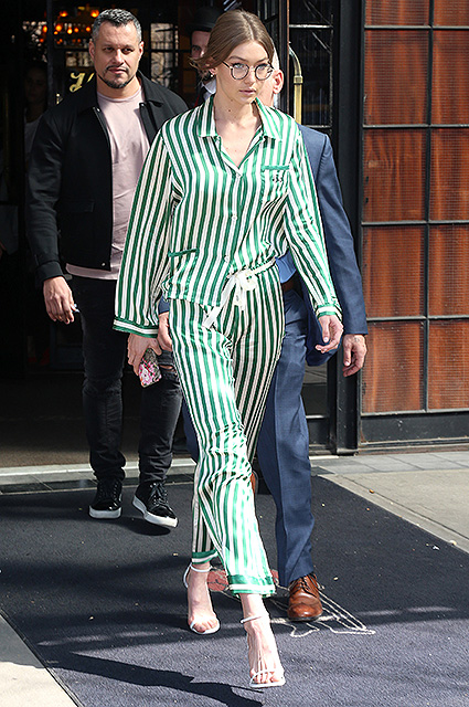 NO JUST JARED USAGE Gigi Hadid seen leaving The Bowery Hotel in New York City. Pictured: Gigi Hadid Ref: SPL1478095  130417   Picture by: Splash News Splash News and Pictures Los Angeles:310-821-2666 New York:212-619-2666 London:870-934-2666 photodesk@splashnews.com